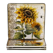 French Sunflowers Square Dinner Plate (Set of 4)