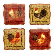 Tuscan Rooster Canape Plate (Set of 4)