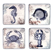 Coastal Postcards Dessert Plate (Set of 4)