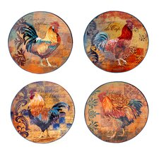 """Rustic Rooster 11.25"""" 4 Piece Dinner Plate Set"""