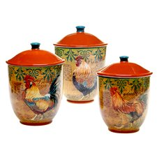 Rustic Rooster 3-Piece Canister Set