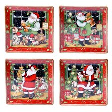 Santa's Workshop Dinner Plate 4 Piece Set