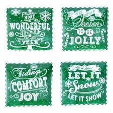 Chalkboard Christmas Dinner Plate (Set of 4)
