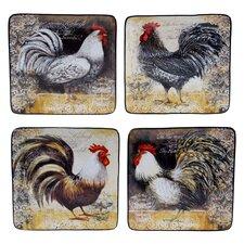 """Vintage Rooster 8.25"""" 4 Piece Dessert Plate Set"""