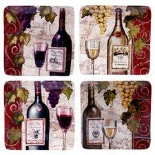 """Wine Tasting 8.25"""" 4 Piece Salad Plate Set"""