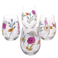Rainbow Seeds 22 oz. Stemless Wine Glass (Set of 4)