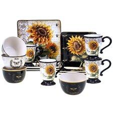 French Sunflower 16 Piece Dinnerware Set
