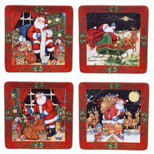 """The Night Before Christmas 10.5"""" Dinner Plate 4 Piece Set"""