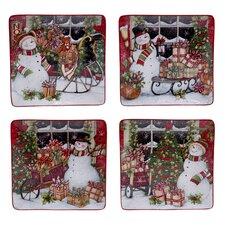 """Snowman's Sleigh 10.25"""" Dinner Plate 4 Piece Set"""