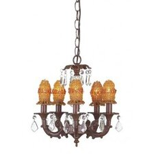 Stacked Glass Ball 5 Light Chandelier with Bulb Cover