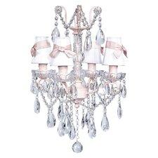 Crystal Glass Center 4 Light Chandelier with Plain Shade / Sash