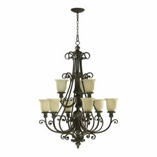Fulton 9 Light Chandelier with Scavo Glass Shade