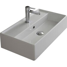 Teorema Ceramic Wall Mounted Vessel Bathroom Sink