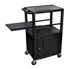 Presentation AV Cart with Side Pullout Shelf