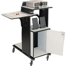 4-Shelf Presentation Station AV Cart with Security Cabinet