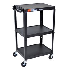 Adjustable Height Metal Cart With Keyboard