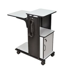 4-Shelf Mobile Presentation Station AV Cart with Cabinet