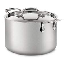 d5 Brushed Stainless Steel 128 Oz. Soup Pot with Lid