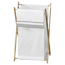 Hotel White/Gray Laundry Hamper