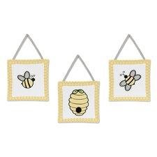 Honey Bee 3 Piece Wall Hanging Art Set