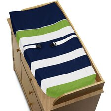 Navy Blue and Lime Green Stripe Changing Pad Cover