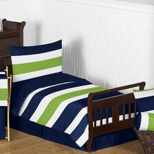 Navy Blue and Lime Green Stripe 5 Piece Toddler Bedding Set