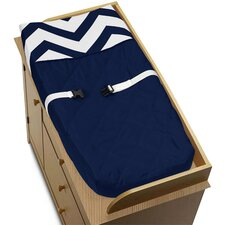 Navy Blue and White Chevron Changing Pad Cover