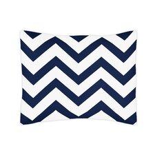Navy Blue and White Chevron Standard Pillow Sham