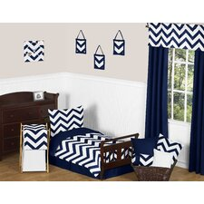 Navy Blue and White Chevron 5 Piece Toddler Bedding Set