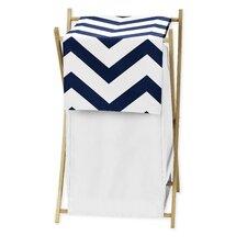 Navy Blue and White Chevron Laundry Hamper