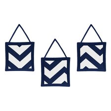Navy Blue and White Chevron 3 Piece Wall Hangings