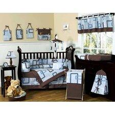Geo Blue 9 Piece Crib Bedding Set