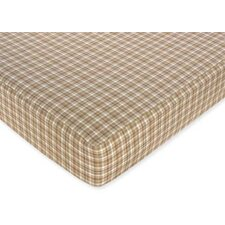 Construction Zone Plaid Fitted Crib Sheet