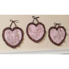 3 Piece Pink and Brown Toile Hanging Art Set