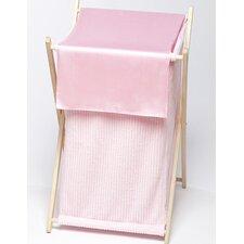 Chenille Pink Laundry Hamper