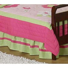 Flower Pink and Green Toddler Bed Skirt