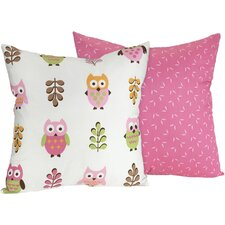 Happy Owl Cotton Throw Pillow