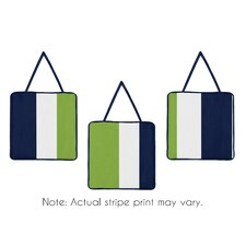 Navy Blue and Lime Green Stripe 3 Piece Wall Hanging Set