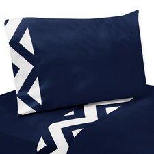 Navy Blue and White Chevron Thread Count Sheet Set
