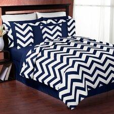 Navy Blue and White Chevron 4 Piece Twin Bedding Set