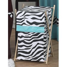 Zebra Turquoise Laundry Hamper