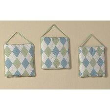 3 Piece Argyle Green Blue Hanging Art Set