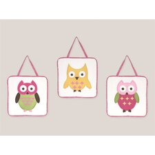 3 Piece Night Owl Wall Hanging Art Set