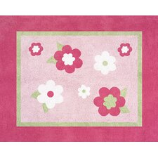 Flower Pink and Green Pink Area Rug