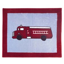 Frankie's Firetruck Blue/Red Fire Truck Area Rug