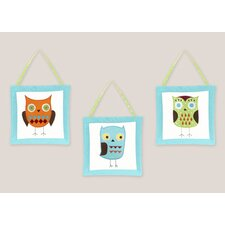 Hooty Turquoise and Lime Wall Hanging (Set of 3)