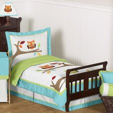 Hooty Turquoise and Lime 5 Piece Toddler Bedding Set