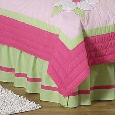 Flower Pink and Green Queen Bed Skirt