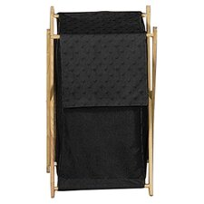Minky Dot Black Laundry Hamper