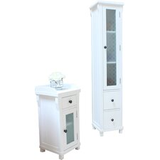 Hampton 39 x 180cm Free Standing Tall Bathroom Cabinet